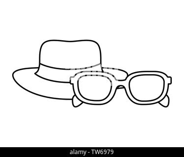 silhouette of hat with ribbon and sunglasses - Stock Photo