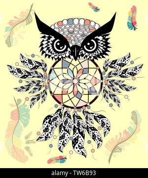 decorative dream catcher in graphic style with owl skull. - Stock Photo