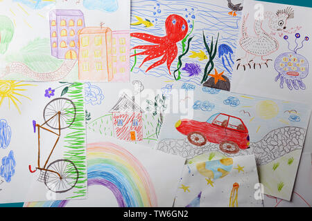 Colorful children's drawings - Stock Photo