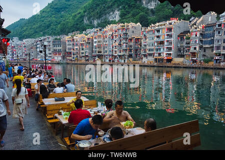 Traditional houses along the Wuyang River, Zhenyuan, Guizhou Province, China - Stock Photo