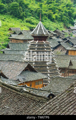 Dong village in the mountain, Zhaoxing, Guizhou Province, China - Stock Photo
