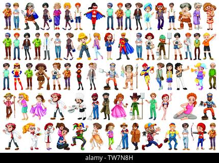 Set of people character illustration - Stock Photo
