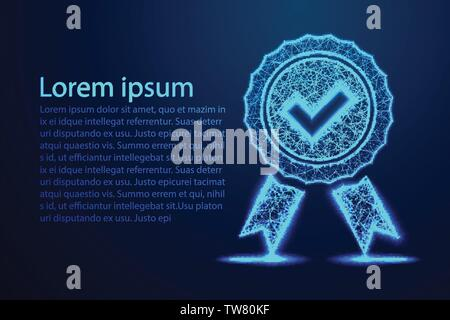 Low Poly Quality icon check, Check mark and medal,Abstract low poly, Triangle, dot, line, polygon. Shine blue background, Vector illustration - Stock Photo