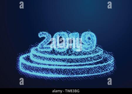 Happy New year 2019. Round podium, pedestal or platform illuminated. Abstract low poly, Triangle, dot, line, polygon. Shine blue background, Vector il - Stock Photo