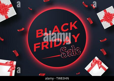 Black friday sale banner with gift box and confetti on red neon background - Stock Photo