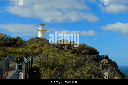 Cape Tourville automatic unmanned Lighthouse on the East Coast of Tasmania was built in 1971 to replace the earlier lighthouse on nearby Lemon Island. - Stock Photo