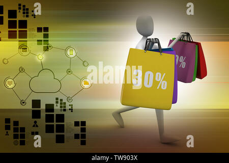 3d man with shopping bags - Stock Photo
