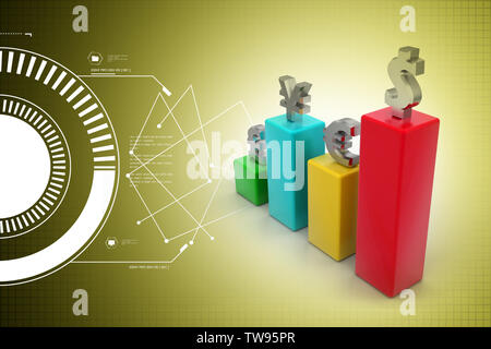 Currency graph - Stock Photo