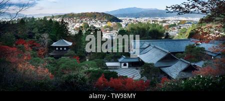 Kyoto landscape aerial city scenery Jisho-ji, Ginkaku-ji, Temple of the Silver Pavilion rooftops in autumn. Sakyo, Kyoto, Japan 2017 panorama - Stock Photo