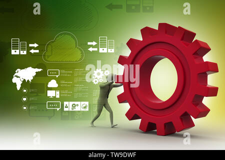 3d man pushing the gear - Stock Photo