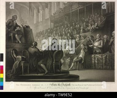 Louis XVI, King of France, during his speech in front of the National Convention, on 26.12.1792, stipple engraving by Luigi Schiavonetti based on a painting by William Mill illustrated person key: Pk 3003, 1048a itemization of the members of the National Convention: Pk 3003, 1048b, Additional-Rights-Clearance-Info-Not-Available - Stock Photo