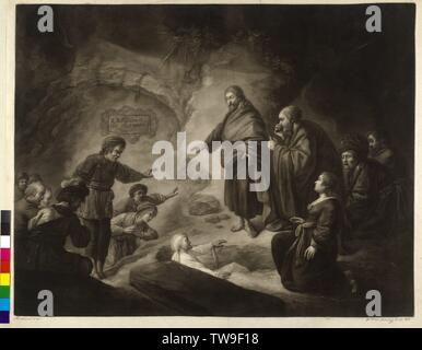 Raising of Lazarus of Bethany, mezzotint by Jakob Traunfellner based on a painting by Rembrandt Harmenszoon van Rijn (?), Additional-Rights-Clearance-Info-Not-Available - Stock Photo