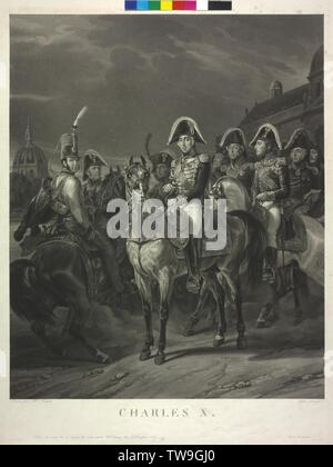 Charles X., King of France, equestrian image in group. aquatint / mixed technique von Jean Pierre Marie Jazet based on a painting by Horace Badun Vernet. script by Choizeau illustrated person key page Pg III / 8 / 12a, Additional-Rights-Clearance-Info-Not-Available - Stock Photo