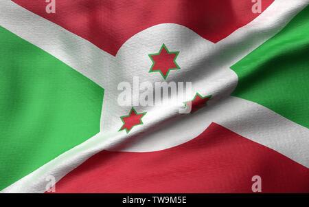 3D Illustration of Burundi Flag - Stock Photo