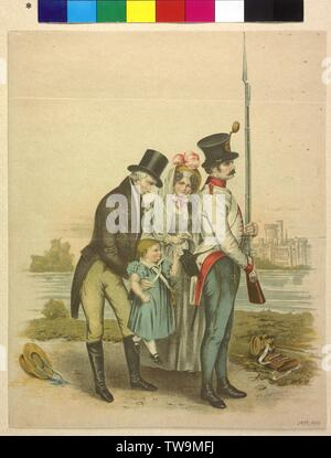Franz Joseph I, Emperor of Austria, children image, Franz Joseph in the Park of Laxenburg, upheave by Emperor Franz II (I), lithograph based on painting by Peter Fendi (1836) with low motif modifications, Additional-Rights-Clearance-Info-Not-Available - Stock Photo
