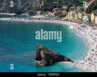 Beach coast of Monterosso al Mare in Cinque Terre region of Italy in a sunny day - Stock Photo