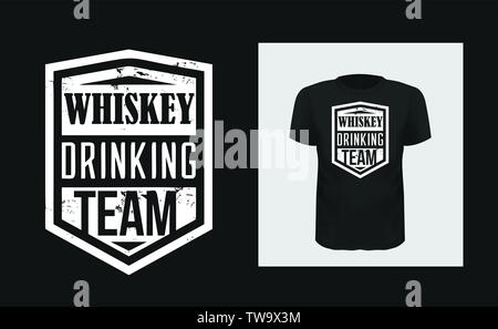 Whiskey drinking team t shirt print design - Stock Photo
