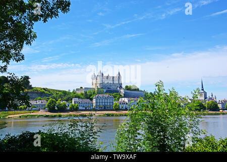 Castle and Loire river, Saumur , Maine-et-Loire, Pays de la Loire, France - Stock Photo