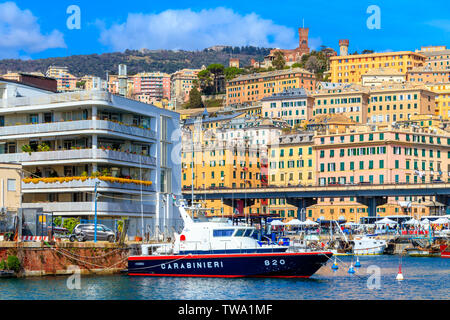 GENOA, ITALY - MARCH 9, 2019: A view on the old town and harbor of Genoa - Stock Photo