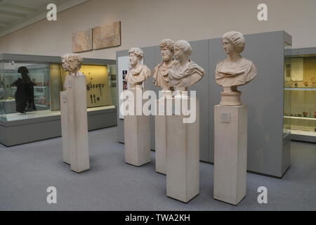 Ancient Roman busts and sculptures on display in the British Museum in London, United Kingdom. - Stock Photo