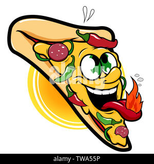 Vector Illustration of a spicy hot pepper pizza slice character. - Stock Photo