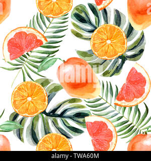 Watercolor tropical seamless pattern with orange, grapefruit, palm leaves and mango isolated on a white background - Stock Photo