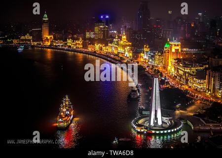 Shanghai Bund Night Scene From Hyatt on the Bund Hotel VUE - Stock Photo