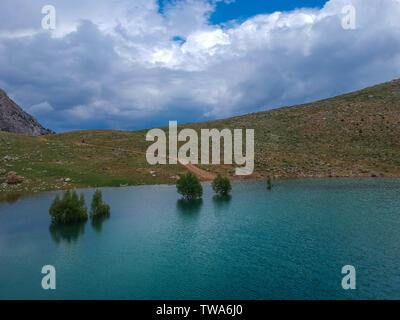 A view of submerged trees in a Green Lake, Turkey - Stock Photo