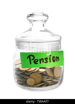Coins in glass jar with tag PENSION on white background - Stock Photo