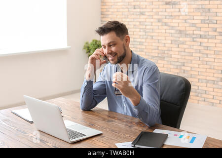 Male broker working in office. Finance trading concept - Stock Photo