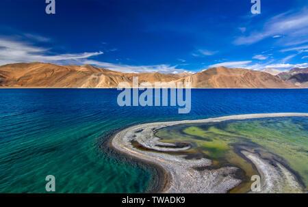 Pangong Tso or Pangong, an endorheic lake, Ladakh, India. - Stock Photo