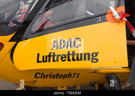 ADAC Luftrettung gGmbH is part of the public-law rescue service system in Germany and is alerted via the European emergency number 112 Stock Photo