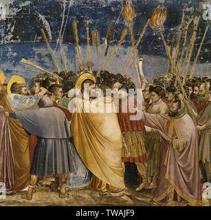 Giotto di Bondone - Arrest Christ Kiss Judas 1306 1 C 1306 - Stock Photo