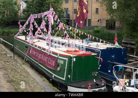 Narrow boats moored on the River Stort in Bishops Stortford, Hertfordshire - Stock Photo