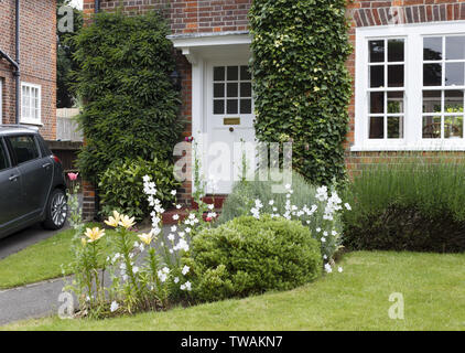 Semi-detached period house and garden in a London suburb - Stock Photo