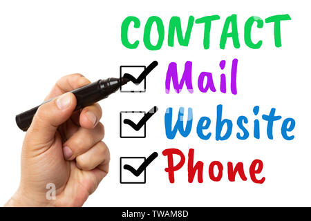 Man checking phone mail and website contact methods with black marker written in colourful text isolated on white background - Stock Photo