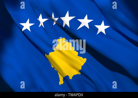 3d rendering of a Kosovo national flag waving - Stock Photo