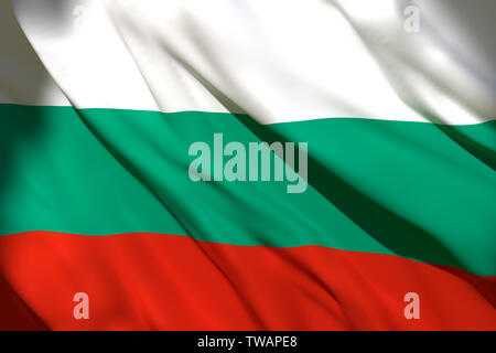 3d rendering of a Bulgaria national flag waving - Stock Photo