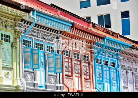 Front view of colourful traditional Singapore Peranakan or Straits Chinese shophouse in historic Joo Chiat East Coast - Stock Photo