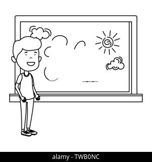 happy student boy drawing in chalkboard - Stock Photo
