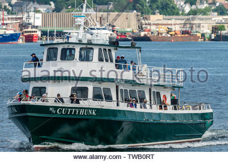New Bedford, Massachusetts, USA - June 17, 2019: Ferry to Cuttyhunk leaving New Bedford - Stock Photo