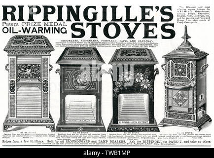 Made of cast-iron these four decorative oil-warming stoves are odourless, smokeless, portable, safe and easy to clean. Available at ironmonagers.     Date: 1890 - Stock Photo