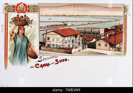 Souvenir postcard of Port Tewfik, Suez Canal, Egypt.      Date: circa 1900s - Stock Photo