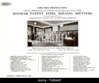 Kinnear patent steel rolling shutters, used for fire protection at Harvey Nichols & Co, Knightsbridge, London, and at various other premises in London and elsewhere.      Date: circa 1930s - Stock Photo