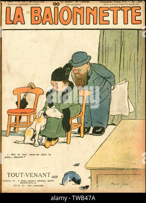 Front cover design for La Baionnette, Tout-Venant (All Comers). A middle-aged couple having a disagreement about a broken vase -- the dog is on her side!      Date: 1918 - Stock Photo