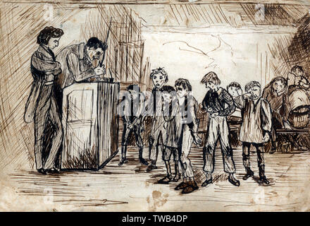 Nicholas Nickelby (left) gets a low-paying job as an assistant to Wackford Squeers, who runs the school Dotheboys Hall in Yorkshire. Nicholas Nickleby by Charles Dickens was originally published as a serial from 1838 to 1839, it was Dickens's third novel.     Date: circa 1840s - Stock Photo