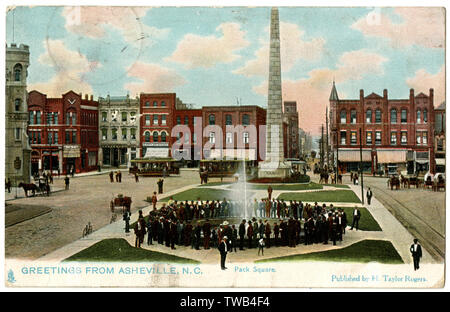 Pack Square with Vance Memorial Obelisk, Asheville, North Carolina, USA.      Date: 1900s - Stock Photo