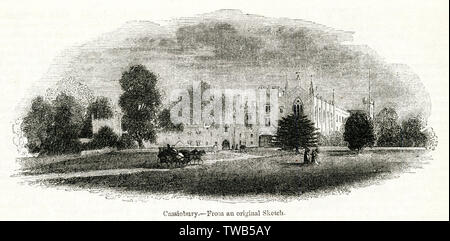 Cassiobury House, near Watford, Hertfordshire, ancestral seat of the Earls of Essex, dating back to the 16th century.  By the time of this illustration, it was possible to travel by train to Watford and enjoy a 'railway ramble' to view the building.      Date: 1842 - Stock Photo