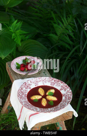Cottage cheese gnocchi with strawberry sauce and lemon balm leaves on the background of the summer garden. Rustic style, selective focus. - Stock Photo