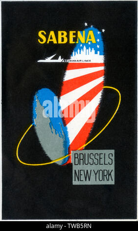 Travel Luggage Label for Sabena Belgian Air Lines.     Date: circa 1960s - Stock Photo